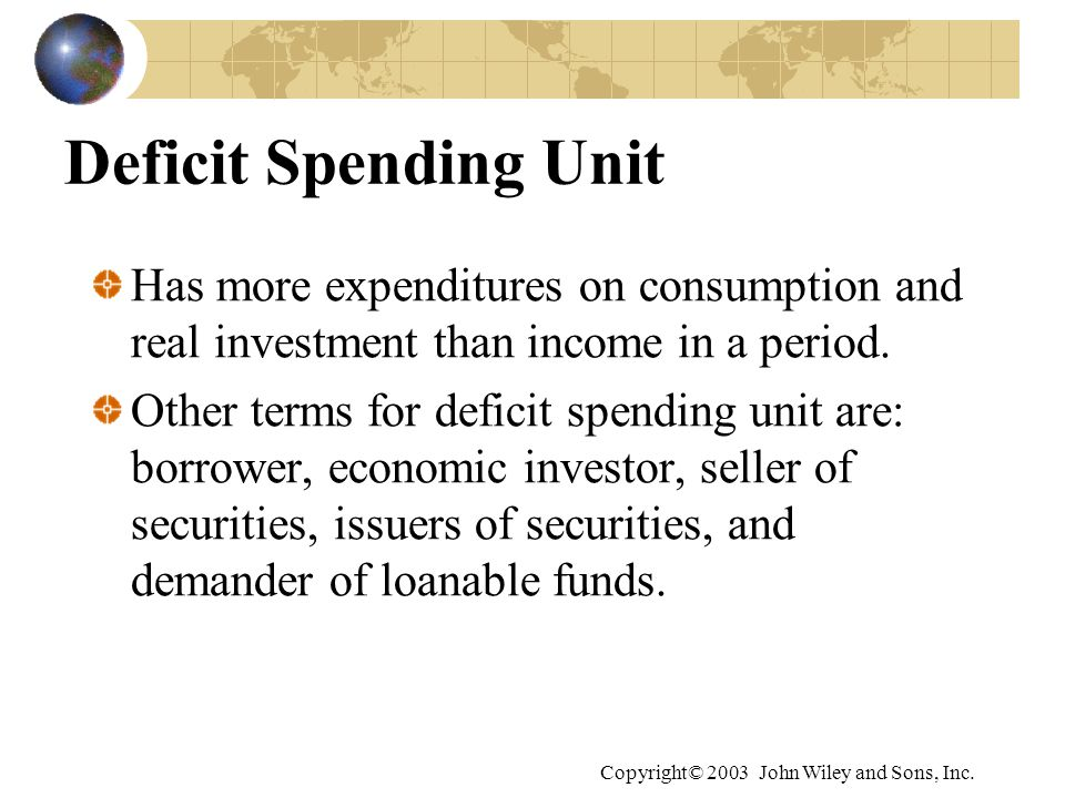 Deficit Spending Unit Has more expenditures on consumption and real investment than income in a period.