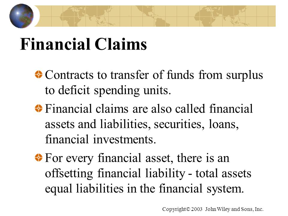 Financial Claims Contracts to transfer of funds from surplus to deficit spending units.