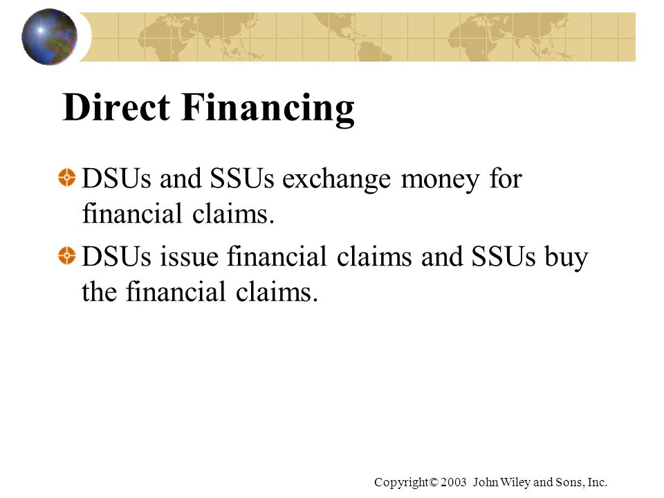 Direct Financing DSUs and SSUs exchange money for financial claims.
