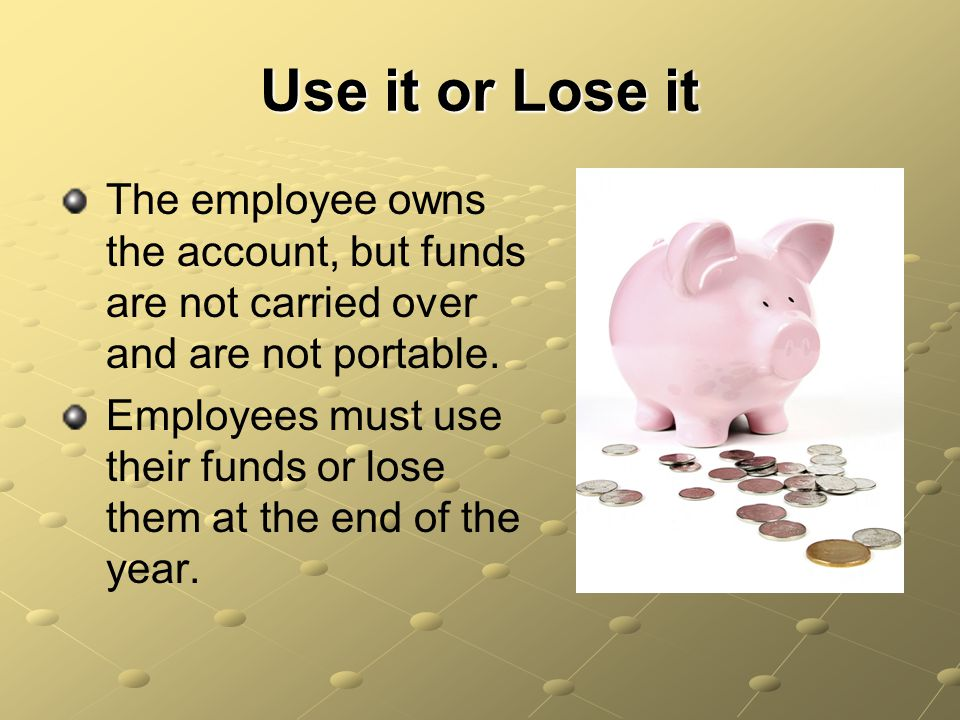 Use it or Lose it The employee owns the account, but funds are not carried over and are not portable.
