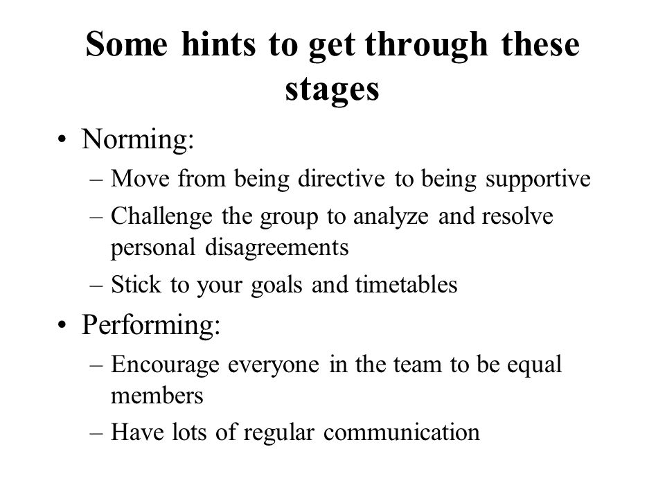 Some hints to get through these stages