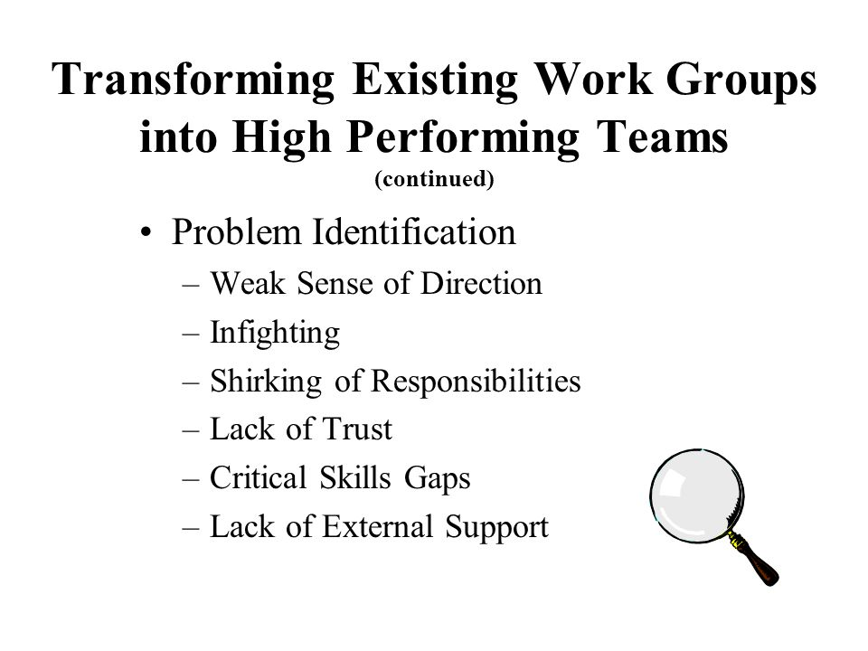 Transforming Existing Work Groups into High Performing Teams (continued)