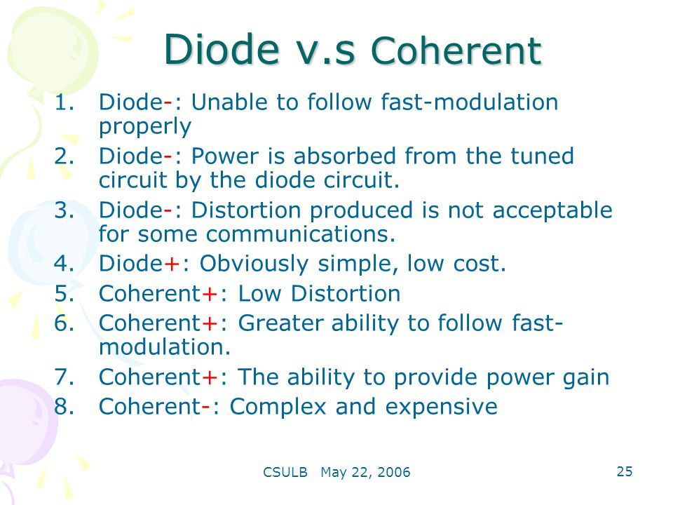 Diode v.s Coherent Diode-: Unable to follow fast-modulation properly