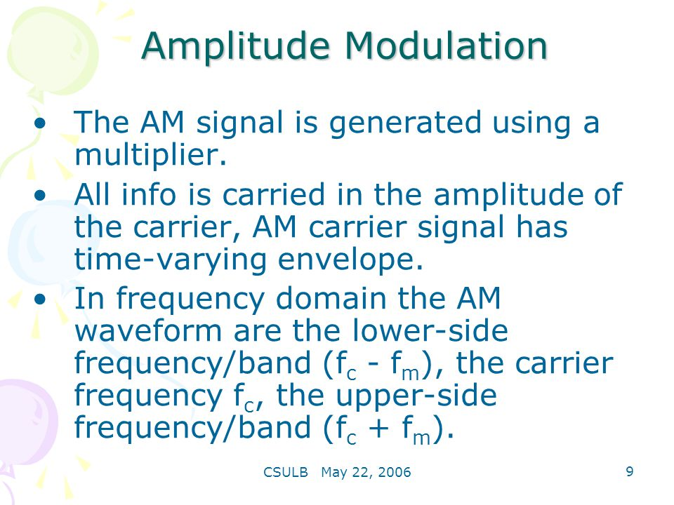 Amplitude Modulation The AM signal is generated using a multiplier.
