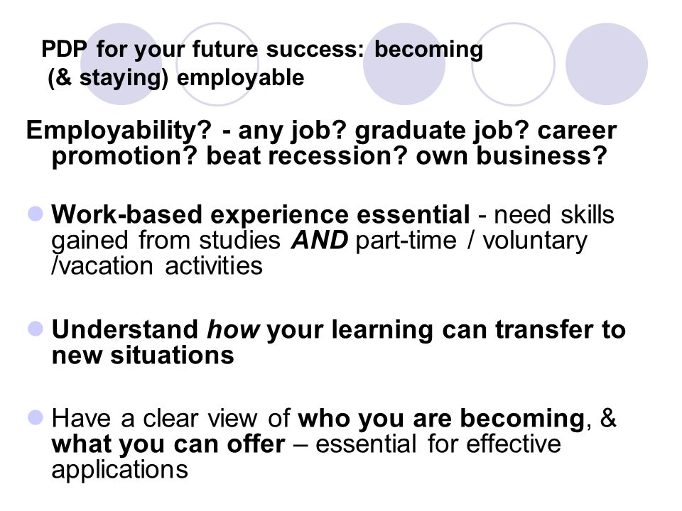 PDP for your future success: becoming (& staying) employable