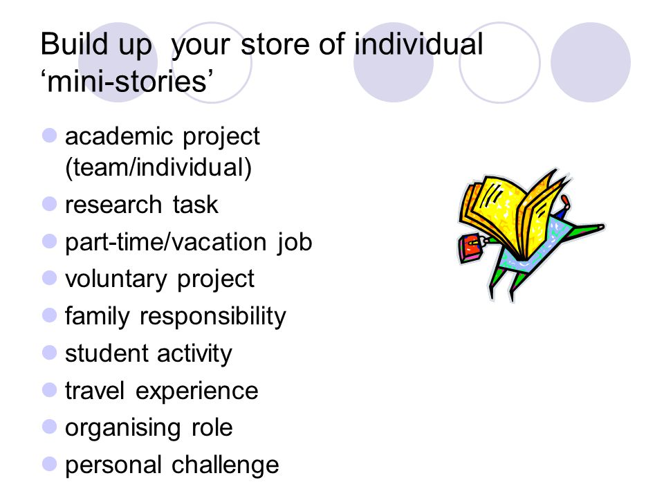 Build up your store of individual 'mini-stories'