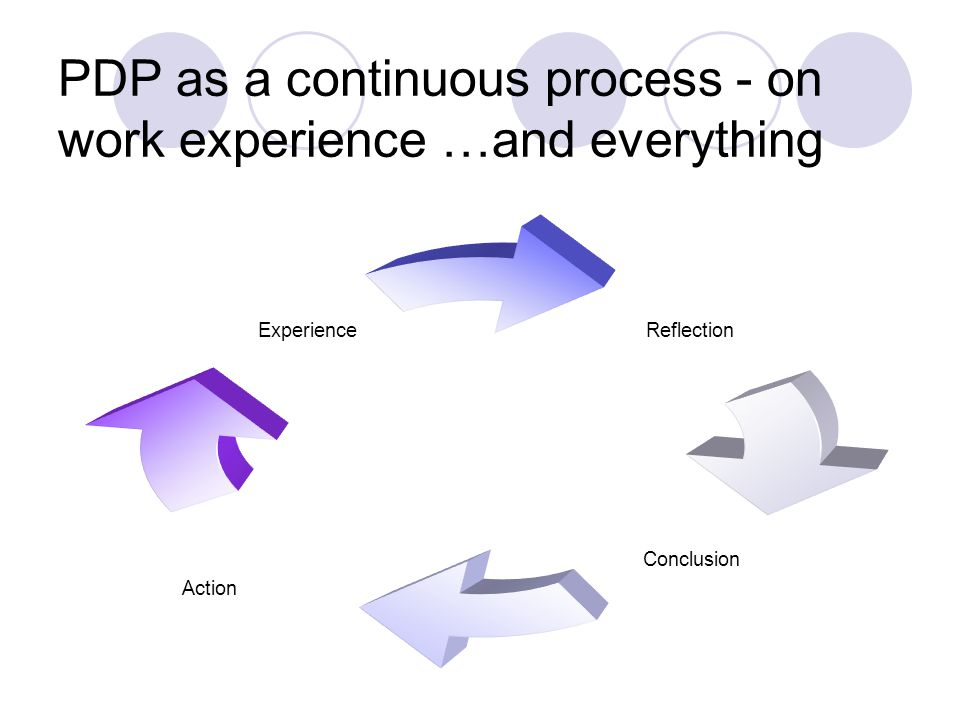 PDP as a continuous process - on work experience …and everything