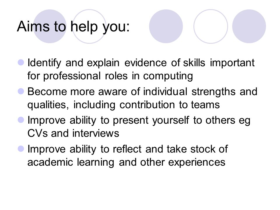 Aims to help you: Identify and explain evidence of skills important for professional roles in computing.
