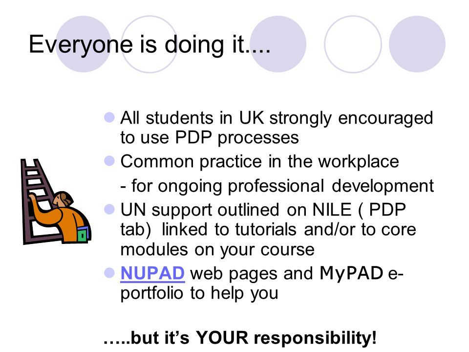 Everyone is doing it.... All students in UK strongly encouraged to use PDP processes. Common practice in the workplace.