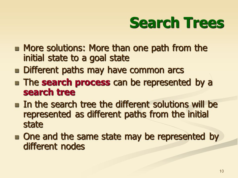 Search Trees More solutions: More than one path from the initial state to a goal state. Different paths may have common arcs.