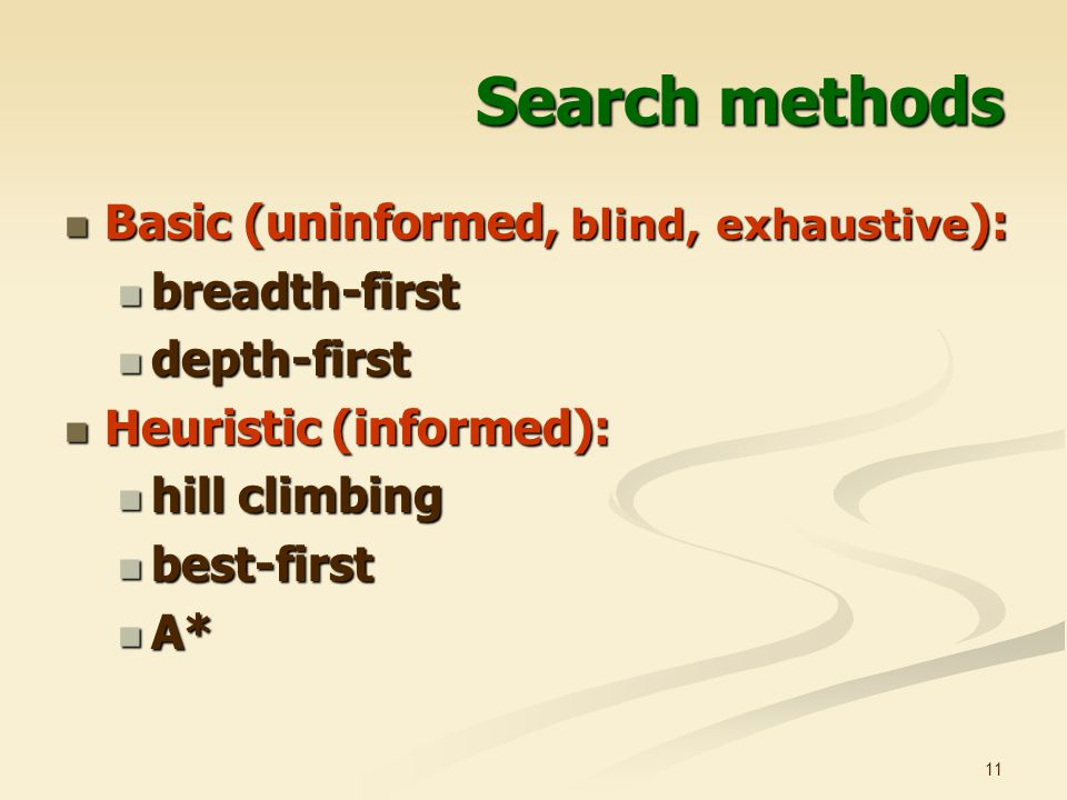 Search methods Basic (uninformed, blind, exhaustive): breadth-first