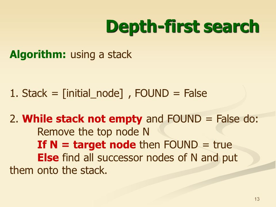 Depth-first search Algorithm: using a stack