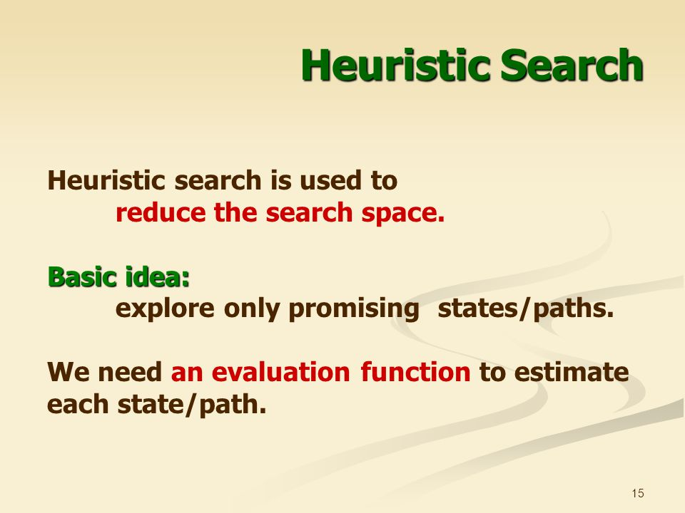 Heuristic Search Heuristic search is used to reduce the search space.