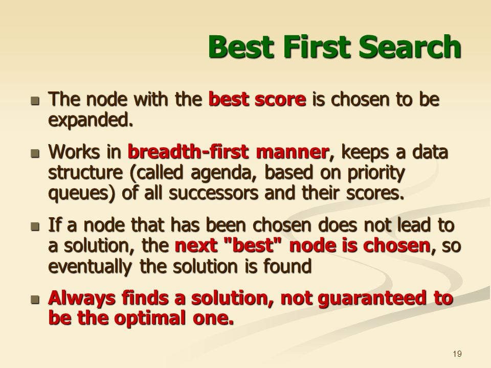 Best First Search The node with the best score is chosen to be expanded.