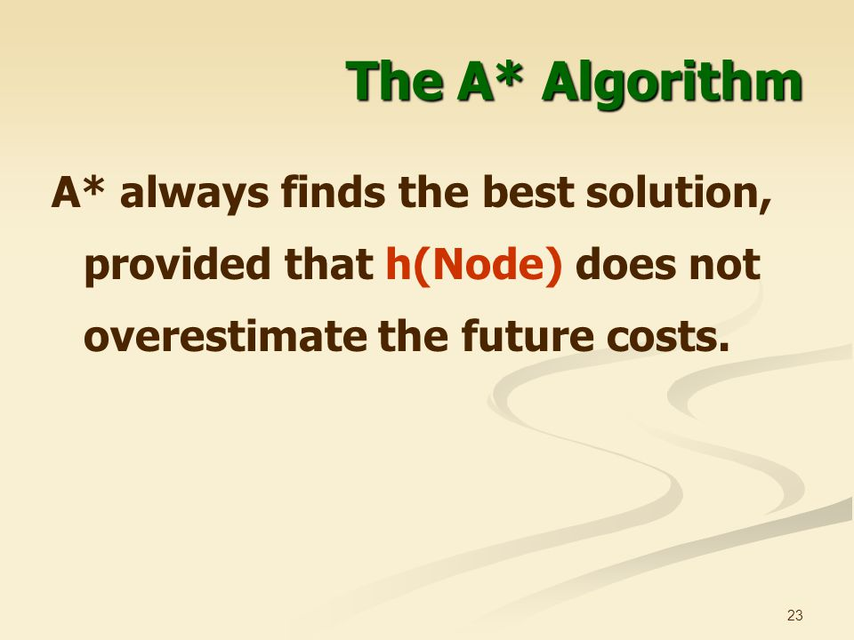 The A* Algorithm A* always finds the best solution, provided that h(Node) does not overestimate the future costs.