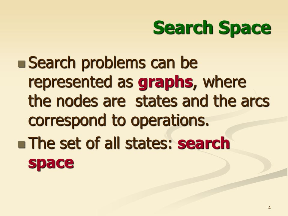 Search Space Search problems can be represented as graphs, where the nodes are states and the arcs correspond to operations.