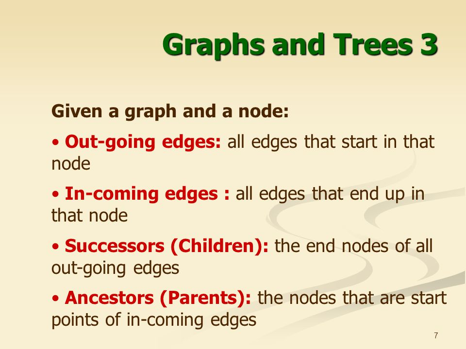 Graphs and Trees 3 Given a graph and a node: