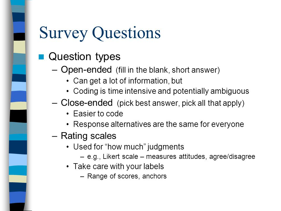 Survey Questions Question types