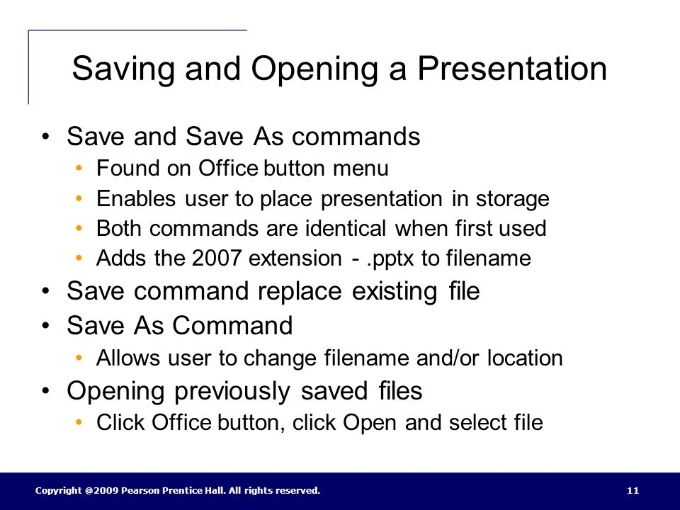 Saving and Opening a Presentation
