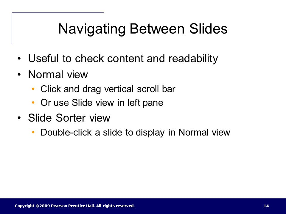 Navigating Between Slides
