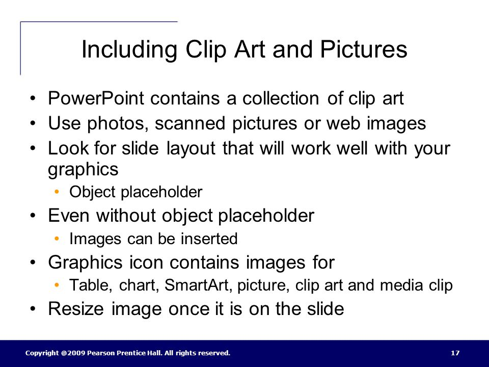 Including Clip Art and Pictures