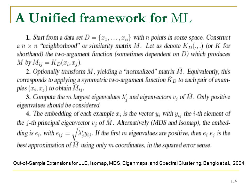 A Unified framework for ML