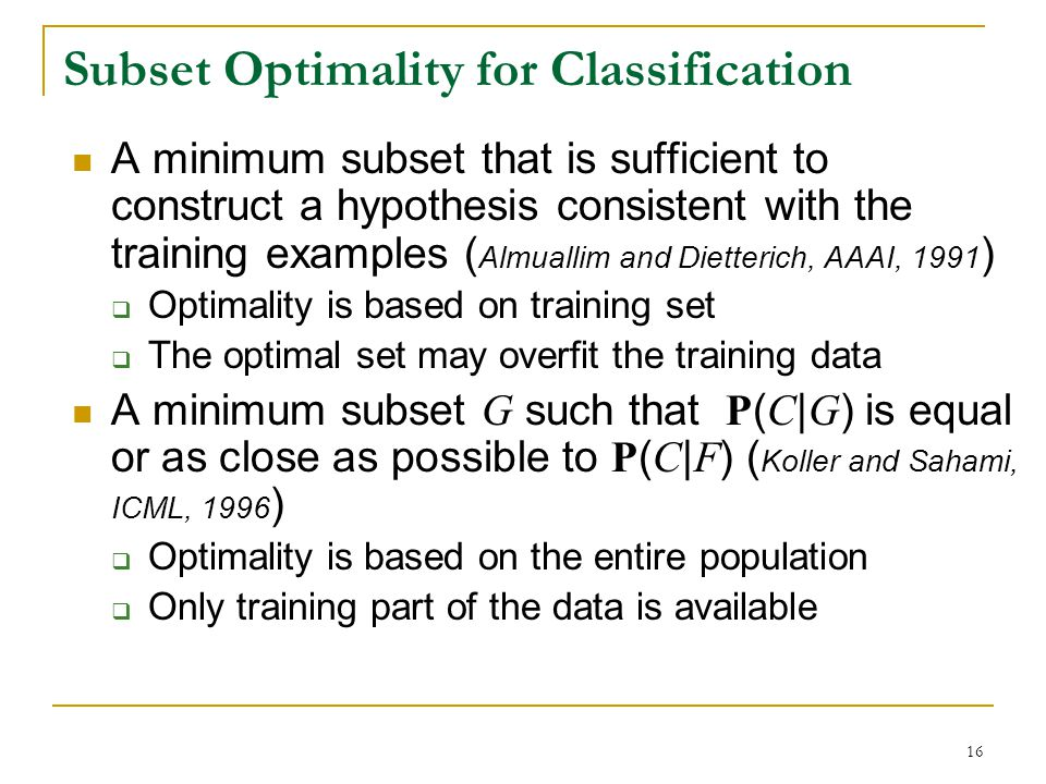 Subset Optimality for Classification
