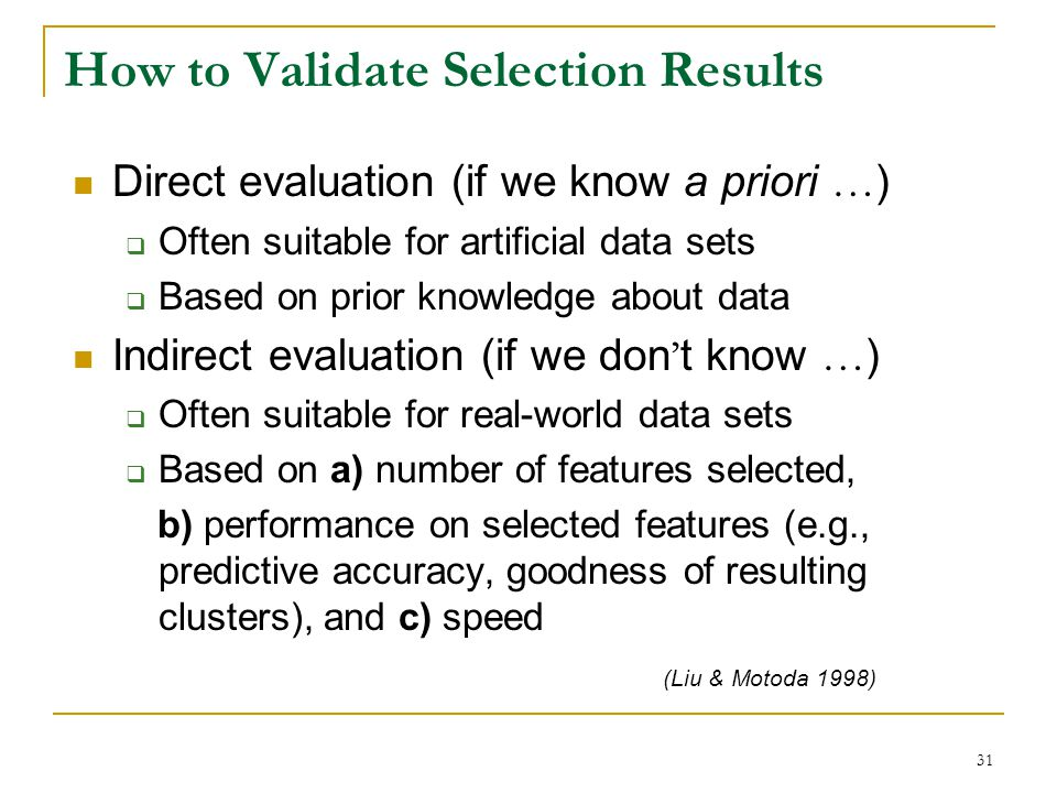 How to Validate Selection Results
