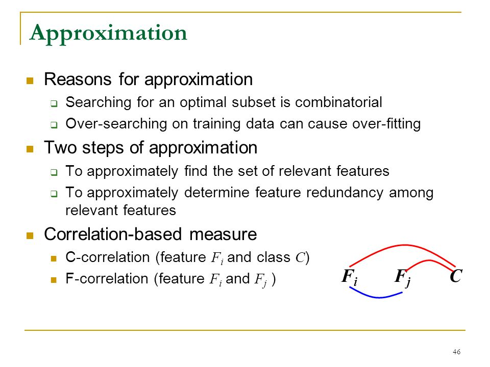 Approximation Fi Fj C Reasons for approximation