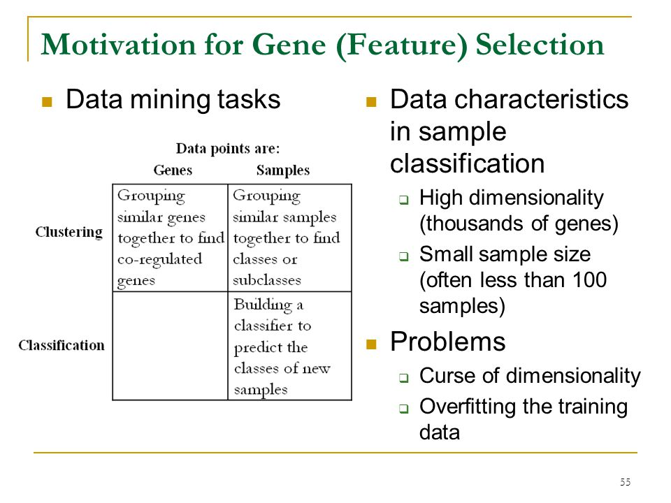 Motivation for Gene (Feature) Selection