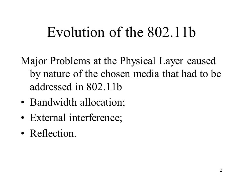 Evolution of the b Major Problems at the Physical Layer caused by nature of the chosen media that had to be addressed in b.