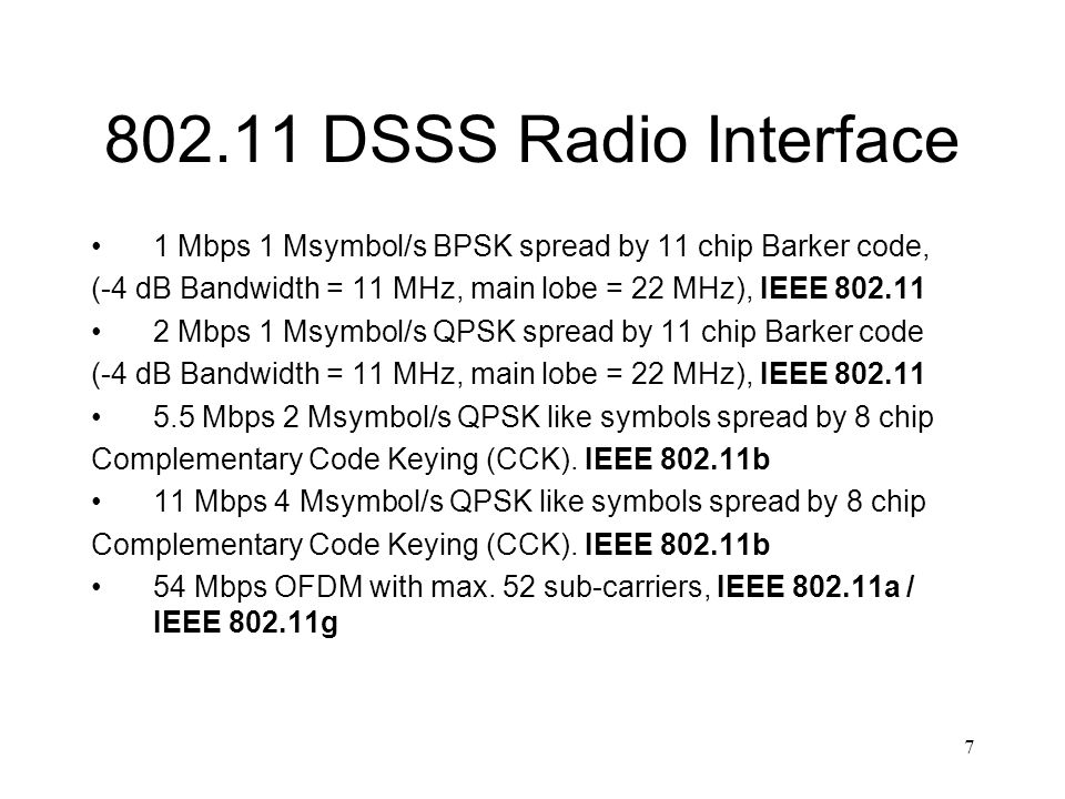DSSS Radio Interface 1 Mbps 1 Msymbol/s BPSK spread by 11 chip Barker code, (-4 dB Bandwidth = 11 MHz, main lobe = 22 MHz), IEEE