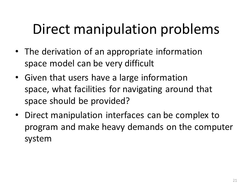 Direct manipulation problems