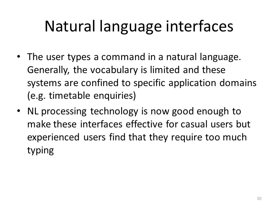 Natural language interfaces