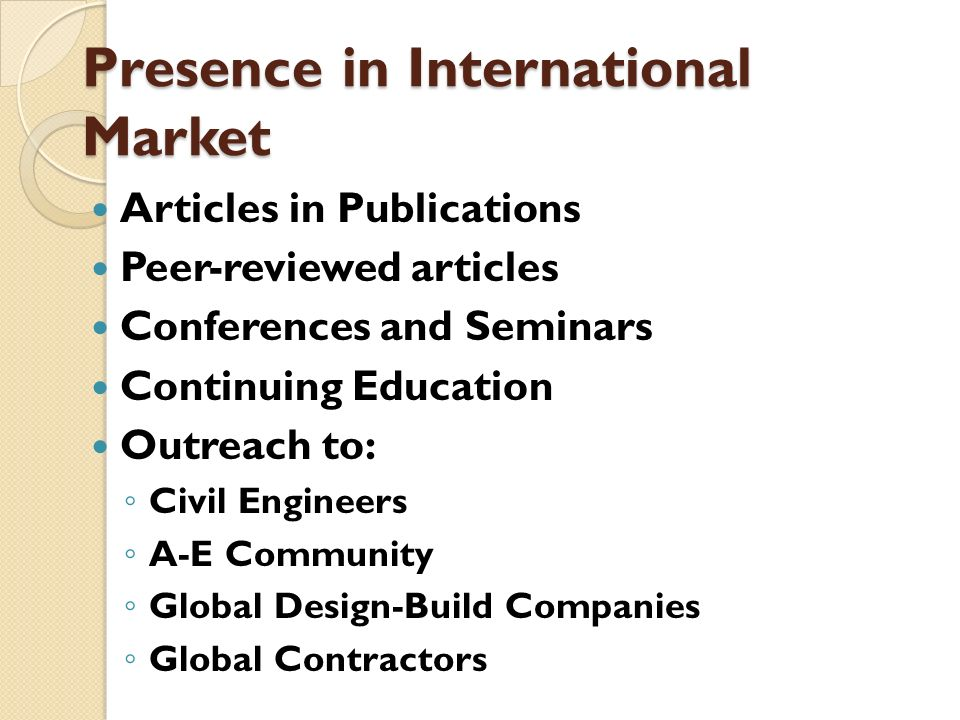 Presence in International Market