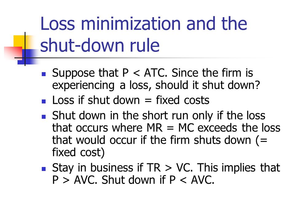 Loss minimization and the shut-down rule