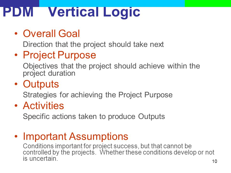 PDM Vertical Logic Overall Goal Project Purpose Outputs Activities