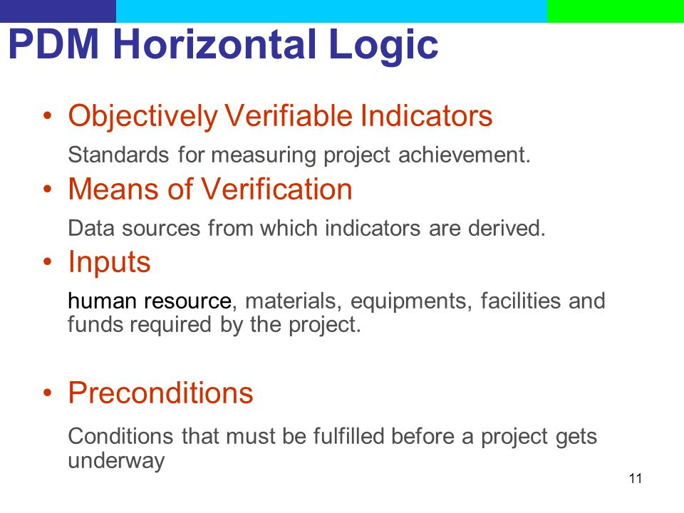 PDM Horizontal Logic Objectively Verifiable Indicators. Standards for measuring project achievement.