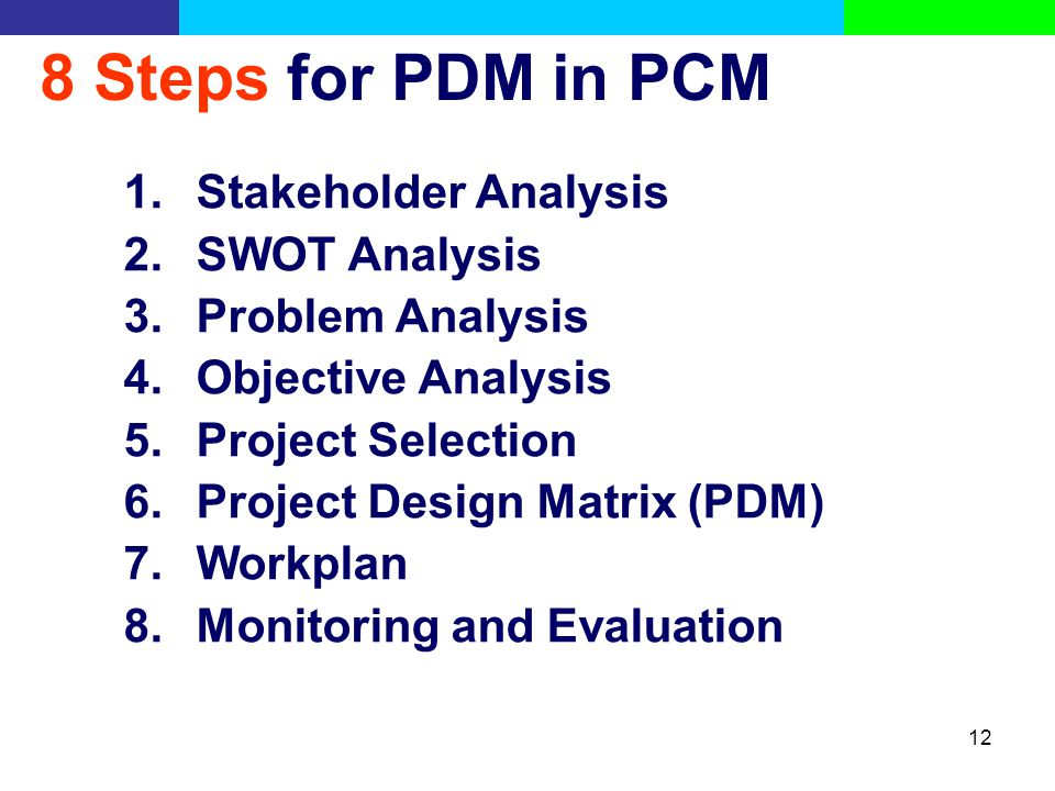 8 Steps for PDM in PCM Stakeholder Analysis SWOT Analysis