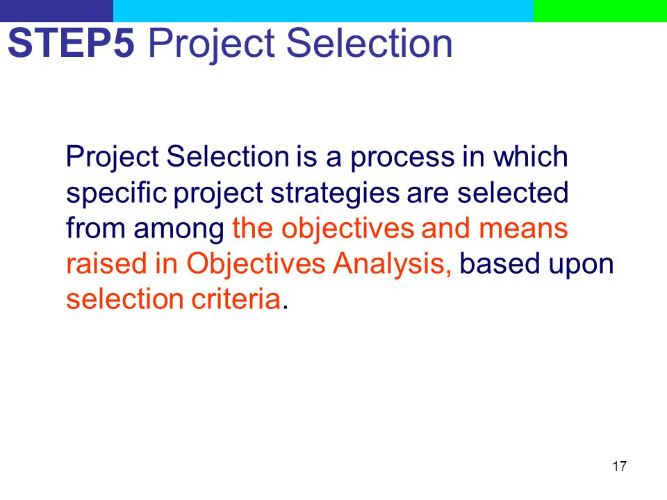 STEP5 Project Selection