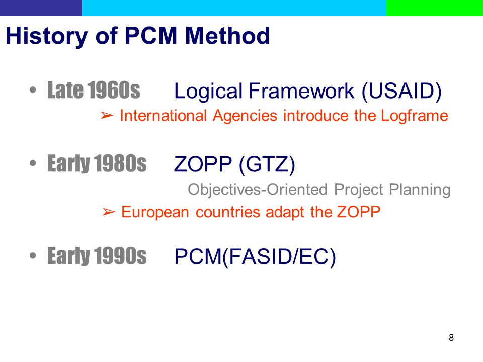 History of PCM Method Late 1960s Logical Framework (USAID)