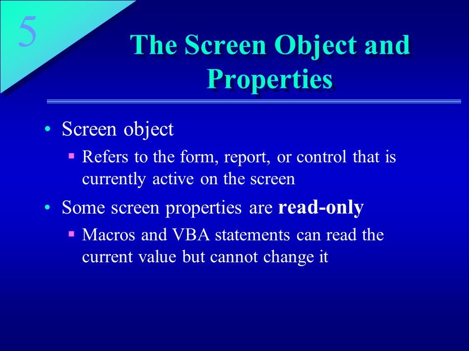 The Screen Object and Properties