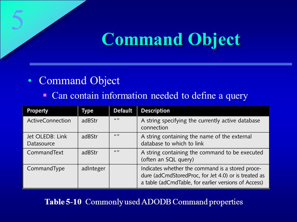 Table 5-10 Commonly used ADODB Command properties