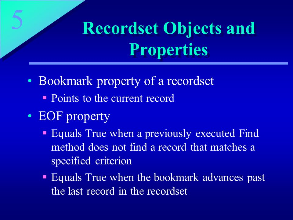 Recordset Objects and Properties