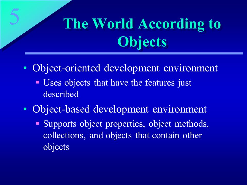 The World According to Objects