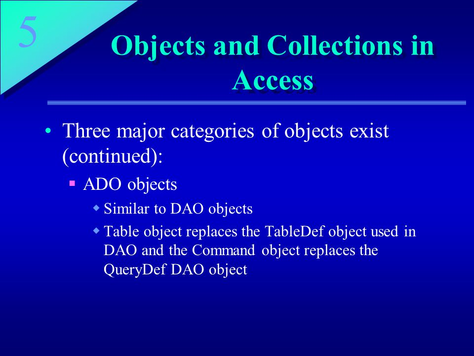 Objects and Collections in Access