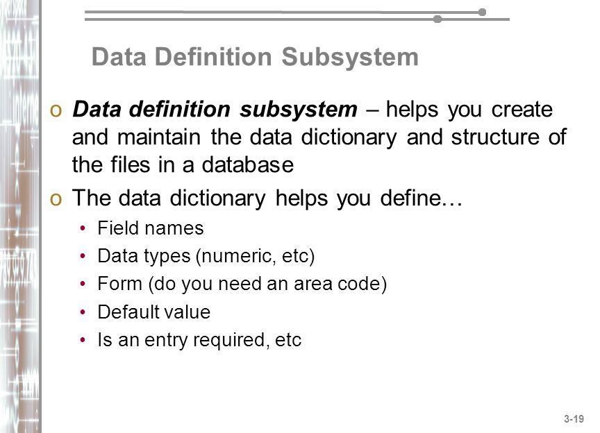 Data Definition Subsystem