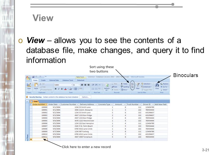 View View – allows you to see the contents of a database file, make changes, and query it to find information.