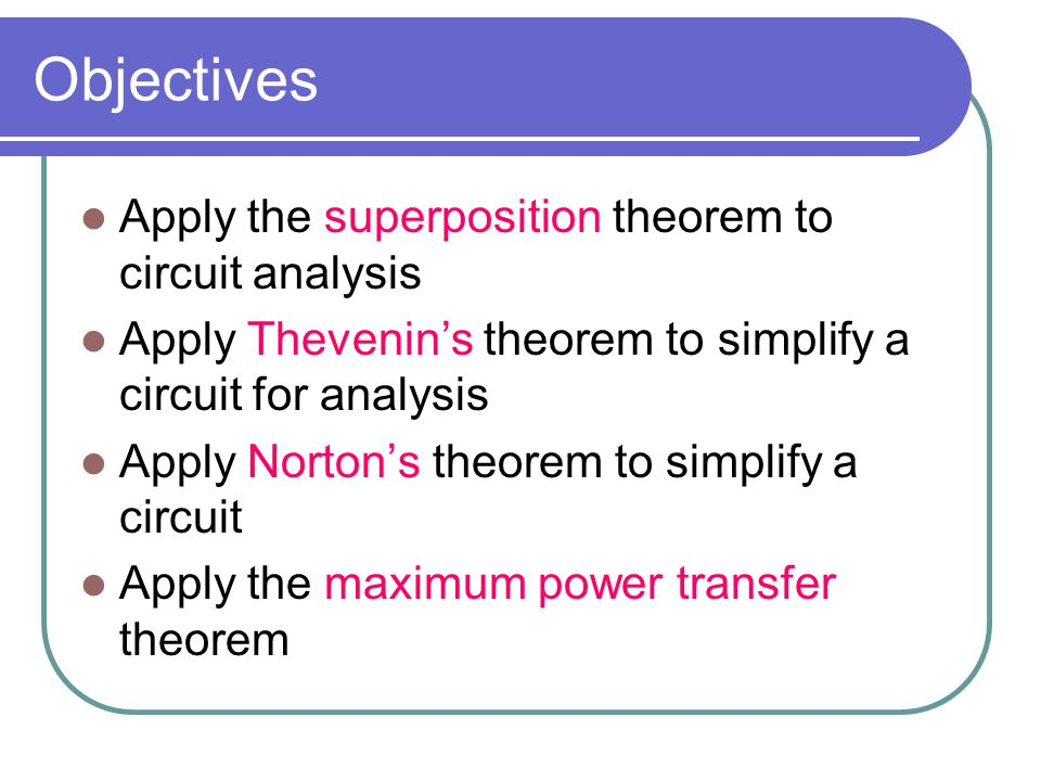 Objectives Apply the superposition theorem to circuit analysis