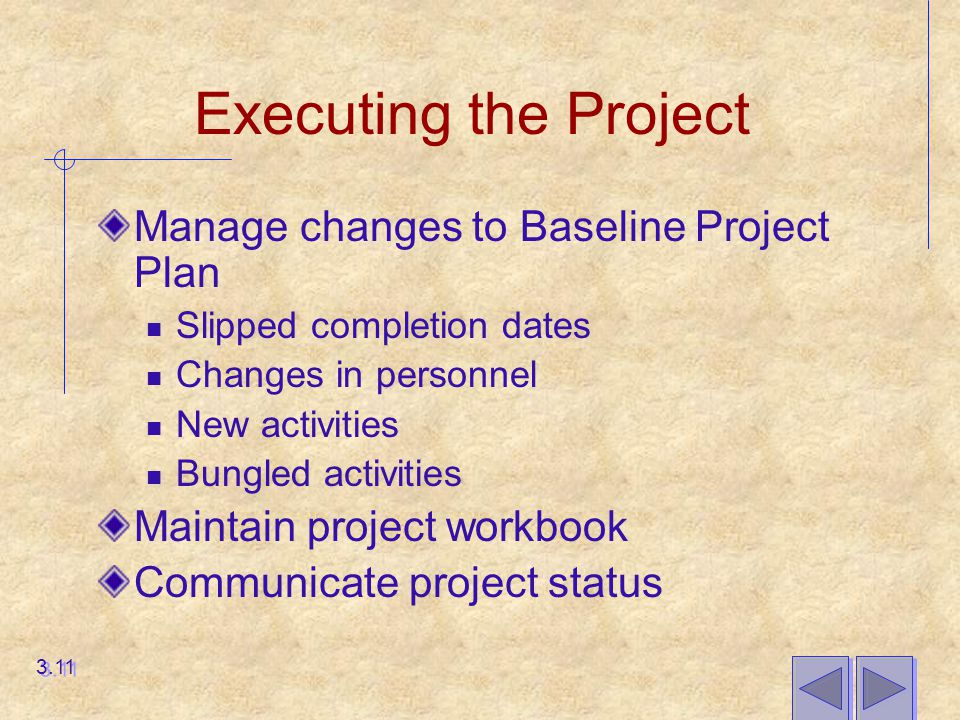 Executing the Project Manage changes to Baseline Project Plan